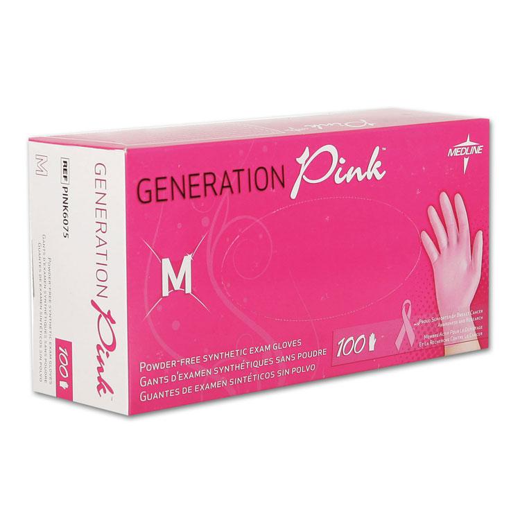 Generation Pink 3g Vinyl Powder Free Gloves Medium 100 Box