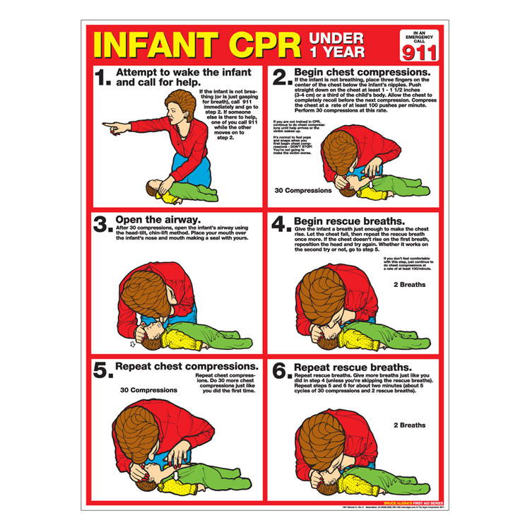 Cpr chart infant laminated