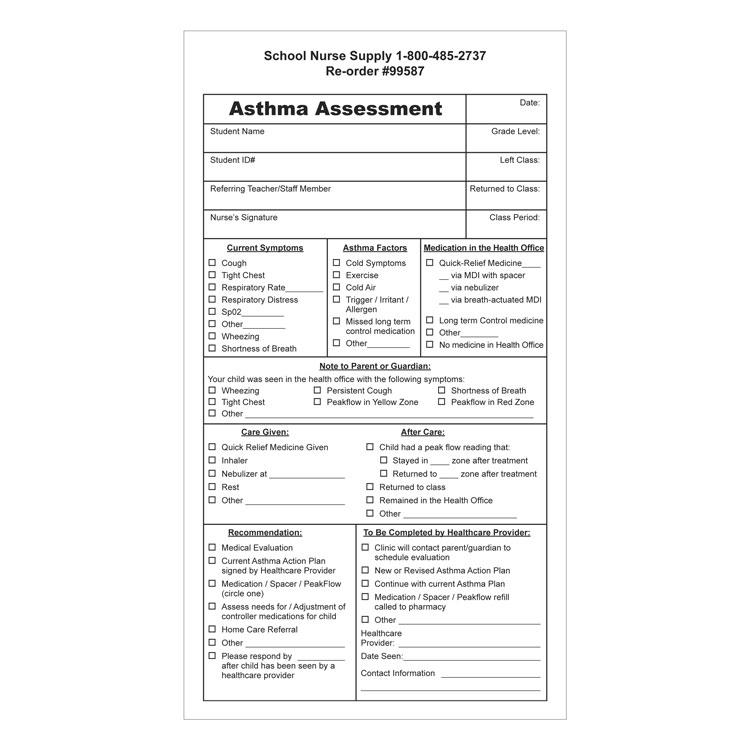 Asthma Assessment Forms (100/Pkg)