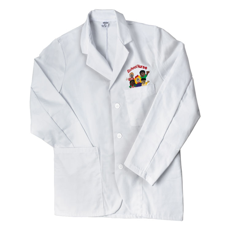 School Nurse Short Embroidered Lab Coat - X-Large