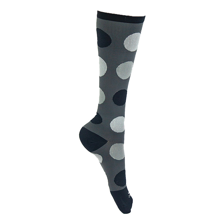 Graduated Compression Socks - Polka Dots (Gray with Black & White)