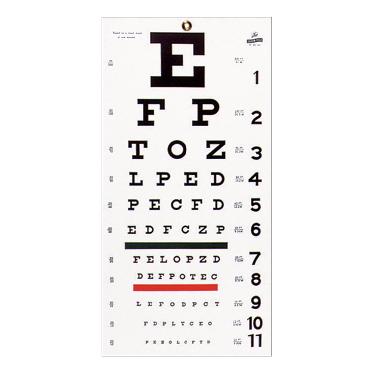 Wall Mount Eye Test Chart Snellen Click To Expand