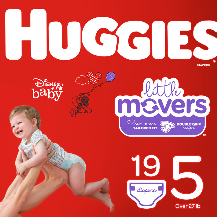 Huggies Diapers - Size 5, Over 27 lbs **CASE of 4 PKGS**