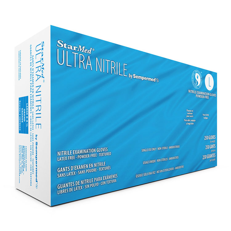 StarMed Ultra Nitrile Powder-Free Gloves - Large (250/Box) **CASE of 10**