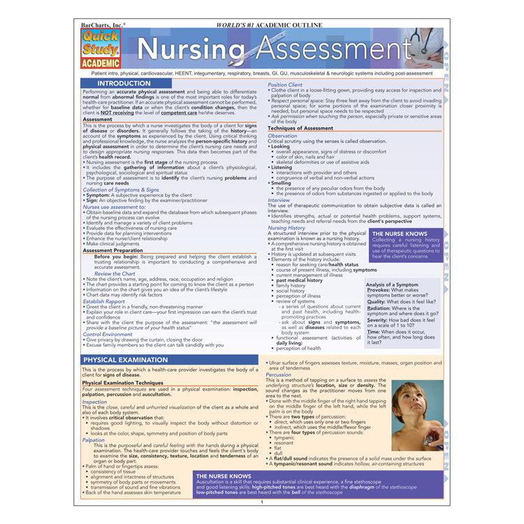 QuickStudy Laminated Reference Guides - Nursing Assessment