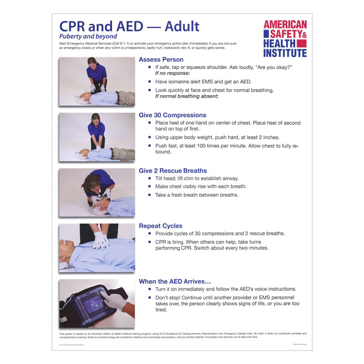 photo regarding Printable First Aid Guide named CPR and AED Poster - Grownup