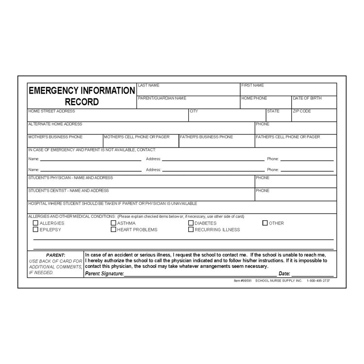 Emergency Information Form **50/Pkg**