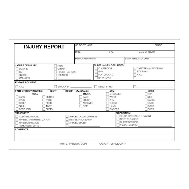 Injury Report Form 50 Pkg