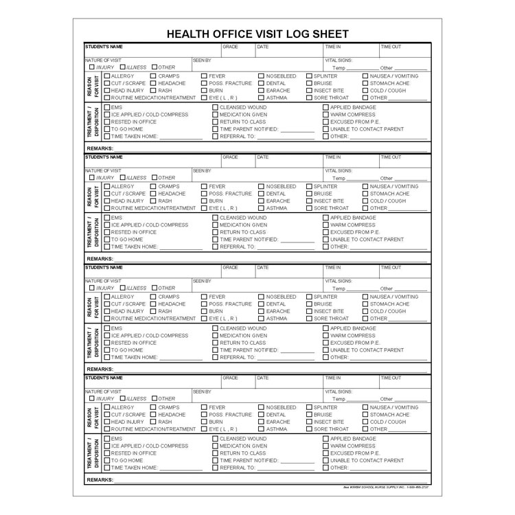 Health Office Log Sheets 50 Pad