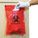Biohazard Stick-On Infectious Waste Bags - 1.4 qt (100/Box)