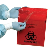 Biohazard Stick-On Infectious Waste Bags - 2.6 qt (100/Box)