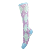 Graduated Compression Socks - Argyle (Lavender/Seafoam)