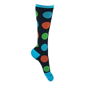 Graduated Compression Socks - Polka Dots (Black with Red/Green/Blue)