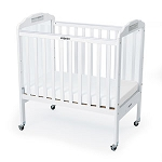 Clear Panel Adjustable Fixed-Side Safety Crib - White Wood Finish