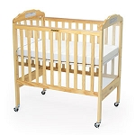 Clear Panel Adjustable Fixed-Side Safety Crib - Natural Wood Finish with Mirror
