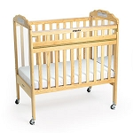 Drop-Gate Clear View Safety Crib - Natural Wood Finish with Mirror
