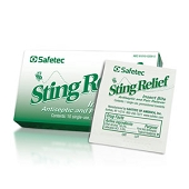 Safetec Sting Relief Wipes (10/Box)