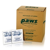 Safetec p.a.w.s. Personal Antimicrobial Hand Wipes (100/Box)