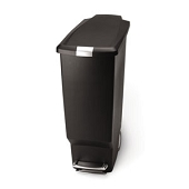Slim Plastic Step-On Waste Can (Black)