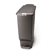 Slim Plastic Step-On Waste Can (Grey)