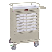 Harloff Medical Bin Treatment Cart with Pull-Out Side Shelf