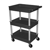 3-Shelf Utility Carts with Deep Shelves - Black