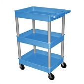 3-Shelf Utility Carts with Deep Shelves - Blue