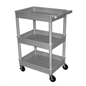3-Shelf Utility Carts with Deep Shelves - Gray