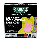 CURAD Performance Antibacterial Fabric Bandages - Knee & Elbow (10-ct)