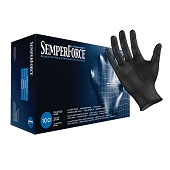 SemperForce Black Nitrile Powder Free Gloves - Small (100/Box)