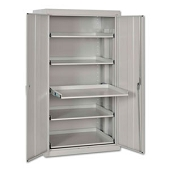 Storage Cabinet with Pull-Out Tray Shelves