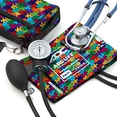 Pro's Combo II Pocket Aneroid/Sprague Kit - Autism Puzzle Pieces Design (Adult Cuff)