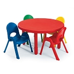 Preschool Round Table and Set of 4 Chairs (Royal Blue)