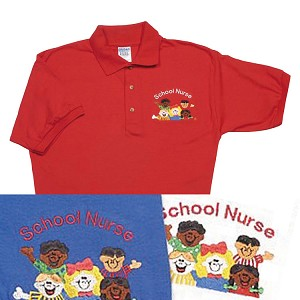 School Nurse Embroidered Polo Shirt (Red) - Medium