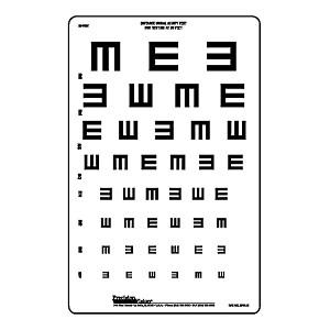 20 Ft Illiterate Tumbling E 8 Line Chart