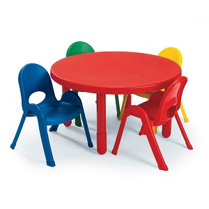Preschool Round Table And Set Of 4 Chairs Red